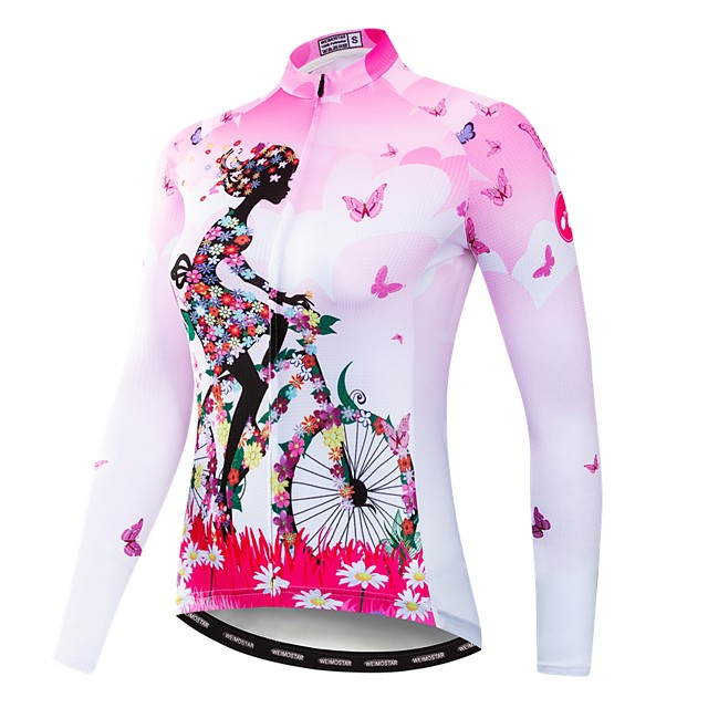 21Grams Virágos / Botanikus Női Hosszú ujj Biciklis ruházat - Medence Sárga Rózsaszín Bicikli Dzsörzé Felsők UV ellenálló Gyors szárítás Nedvességelvezető Sport Tél Nyár Elasztán Terylene Poliészter