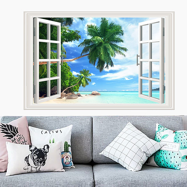 장식 벽 스티커-평면 벽 스티커 풍경 / 꽃 / 식물 거실 / 침실 / 주방 / 재배치 가능 90 * 60cm