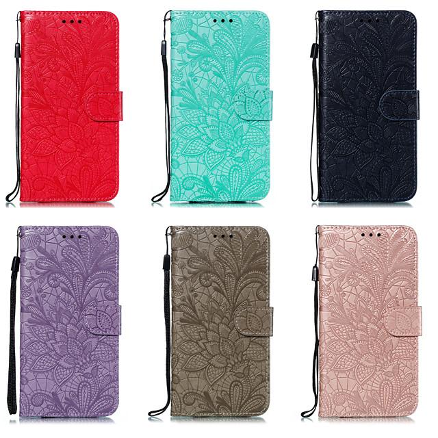 전화 케이스 제품 LG 전체 바디 케이스 가죽 케이스 LG V40 LG K30 LG G8 LG K50 카드 홀더 꽃패턴 PU 가죽
