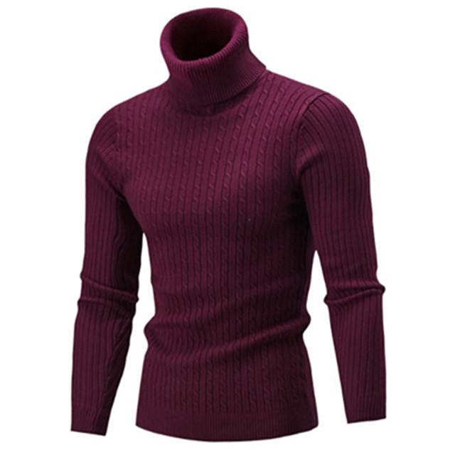 Herre Ensfarvet Pullover Langærmet Sweater Cardigans Rullekrave Efterår Hvid Sort Rød