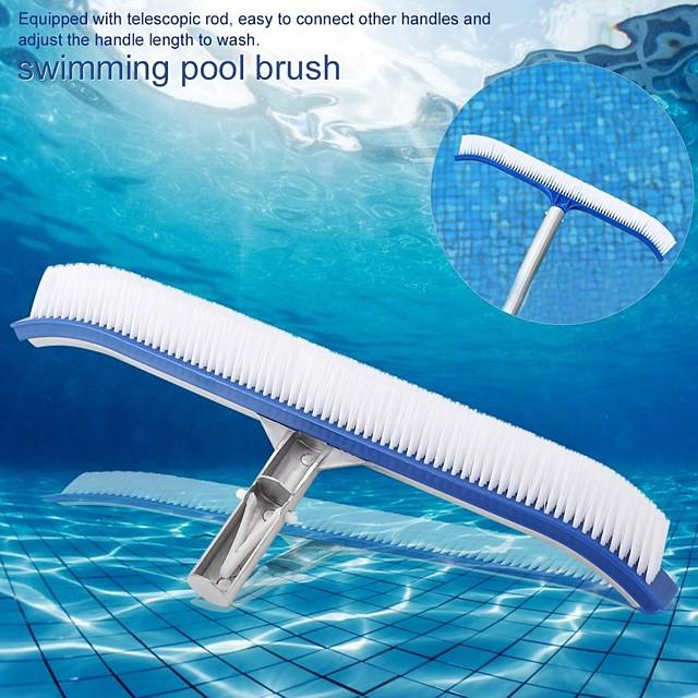 Brosse de nettoyage de manche en aluminium de 17 po pour source thermale de mur de piscine