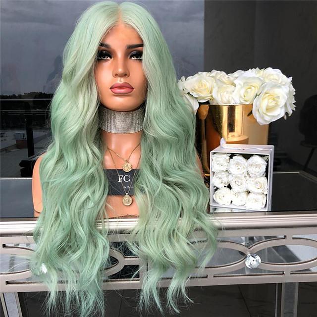 Peruci Sintetice Kinky Straight Partea centrală Perucă Lung Verde Păr Sintetic 26 inch Pentru femei Dame Verde
