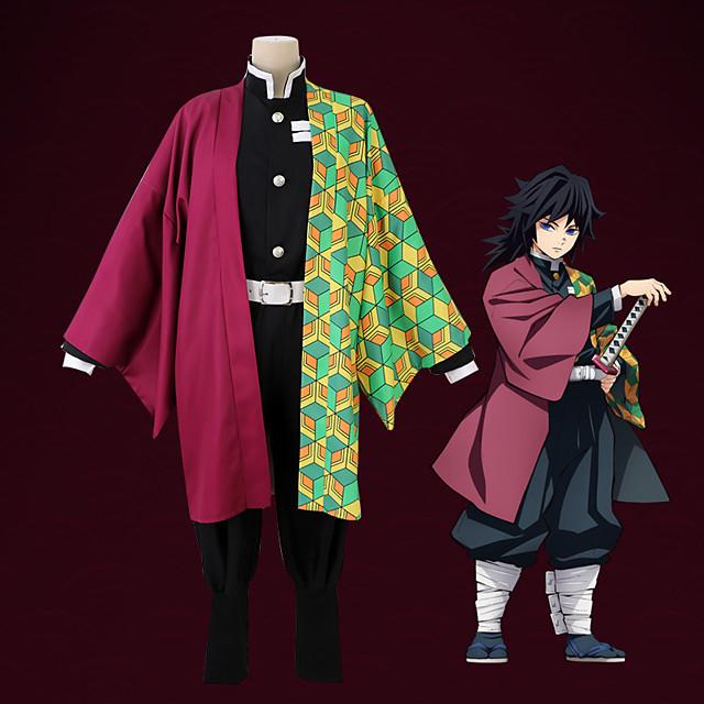 Ispirato da Demon Slayer: Kimetsu no Yaiba Cosplay Anime Costumi Cosplay Giapponese Abiti Cosplay Cappotto Pantaloni Cintura Per Per uomo / 1 pacchetto / 1 pacchetto
