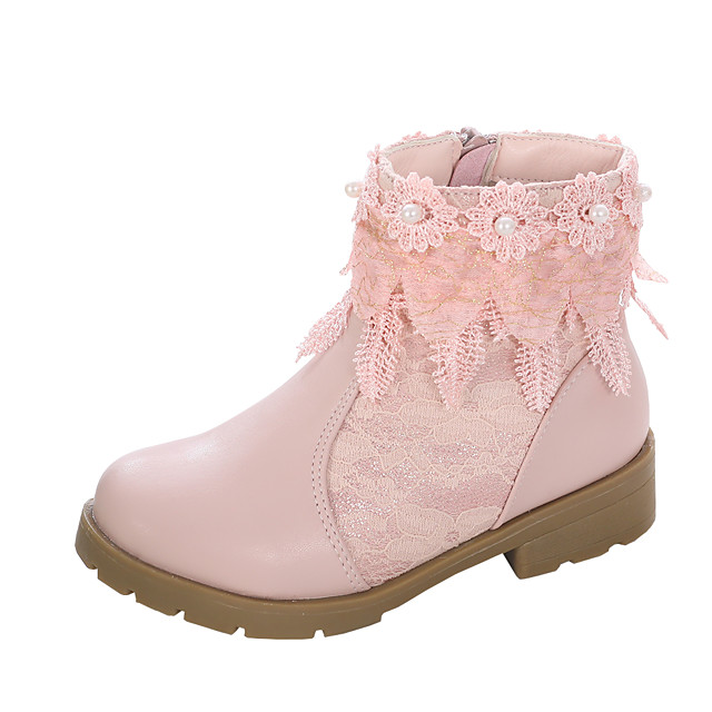 Girls' Boots Comfort Flower Girl Shoes Lace Little Kids(4-7ys) Big Kids(7years +) Daily Party & Evening Walking Shoes Pearl Flower Split Joint White Pink Fall Winter