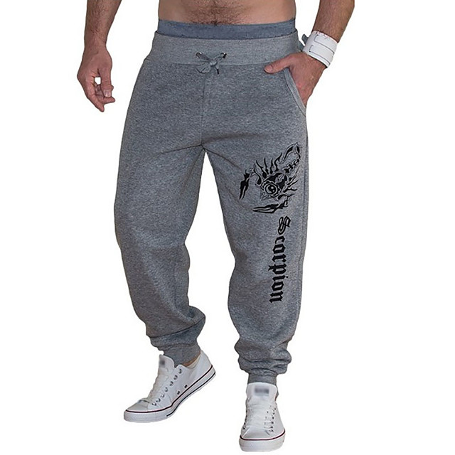 Men's Basic Sweatpants Pants Solid Colored Full Length Light gray Dark Gray Navy Blue