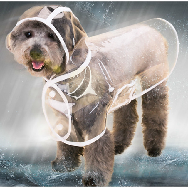 Cat Dog Rain Coat Jacket Raincoat Solid Colored Transparent Waterproof Cool Outdoor Winter Dog Clothes Puppy