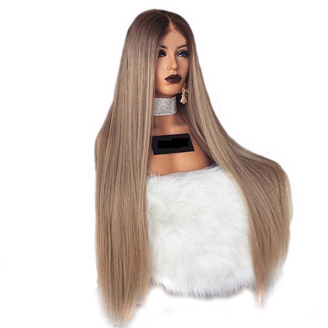 perruque synthétique crépue droite partie médiane perruque longue lumière dorée blond clair rose bordeaux orange cheveux synthétiques 28 pouces femmes femmes blondes (non-dentelle)
