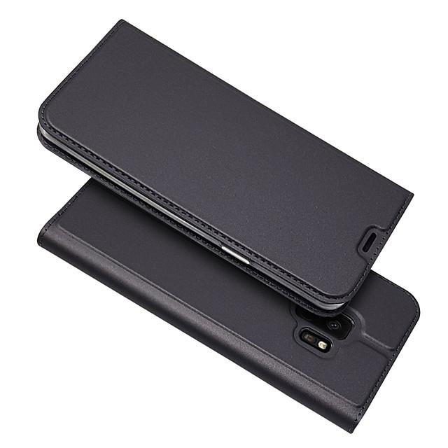 Кейс для Назначение SSamsung Galaxy S9 / S9 Plus / S8 Plus Бумажник для карт / Магнитный / Авто Режим сна / Пробуждение Чехол Однотонный Кожа PU / ТПУ