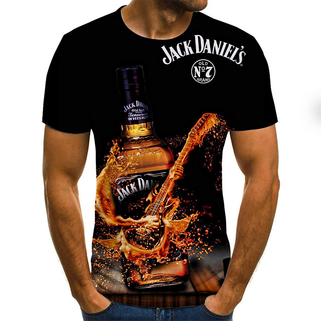 Per uomo Pop art Birra Taglie forti maglietta Con stampe Manica corta Fine settimana Top Moda città Rotonda Nero Giallo Arancione / Estate