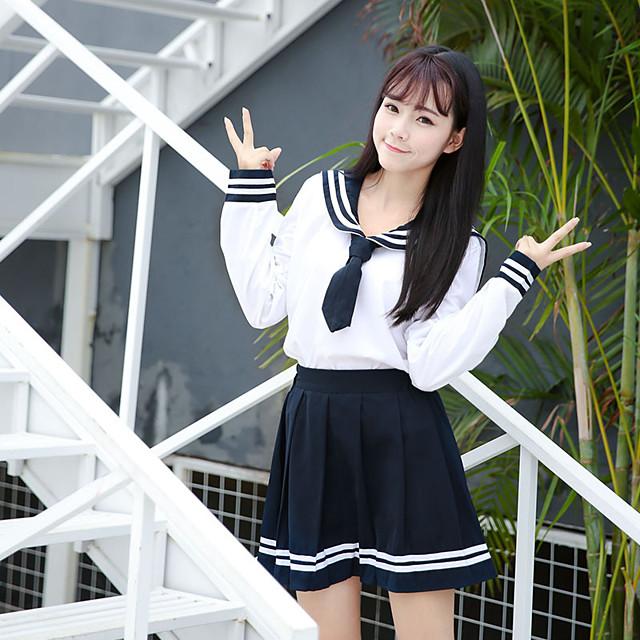 Inspirat de Cosplay Școlărițe Anime Costume Cosplay Japoneză Costume Cosplay Uniforme Școlare Fuste Vârf Fundă Pentru Pentru femei / Papion  / Papion
