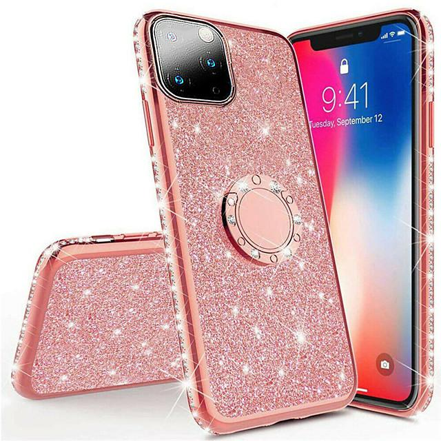 telefono Custodia Per Apple Per retro Silicone iPhone 12 Pro Max 11 SE 2020 X XR XS Max 8 7 6 Resistente agli urti Con diamantini Con supporto Glitterato TPU