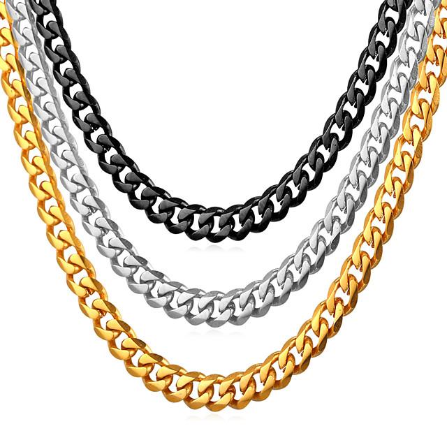 Bărbați Lănțișoare Link cubanez Mariner Chain Modă Hip Hop Teak Negru Auriu Argintiu 55 cm Coliere Bijuterii 1 buc Pentru Cadou Zilnic