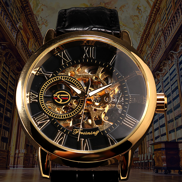 FORSINING Men's Mechanical Watch Automatic self-winding Formal Style Luxury Hollow Engraving Analog Black / White Golden+Black Black / Silver / Stainless Steel / PU Leather / Noctilucent