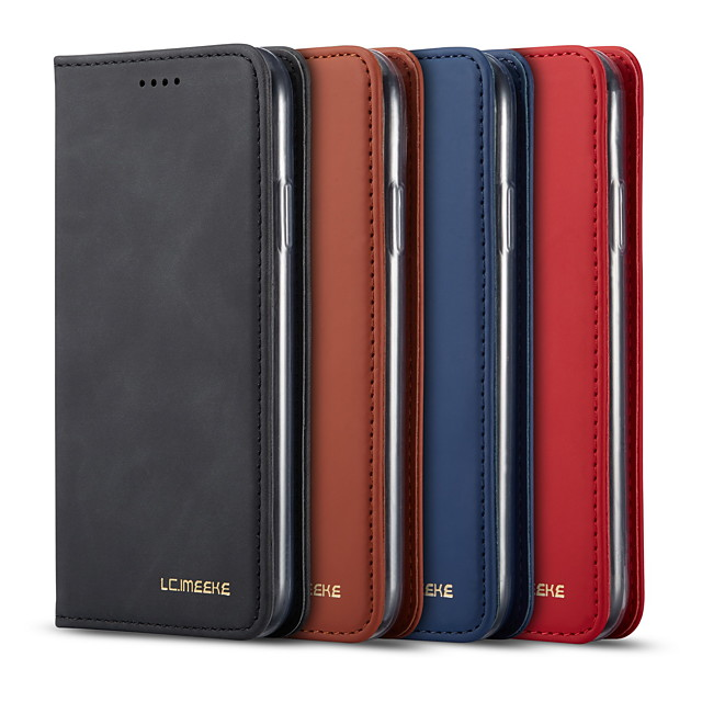 lc.imeeke δερμάτινη θήκη για apple iphone 11 / iphone 11 pro / iphone 11 pro max wallet / card holder / flip full body case solid colour pu leather