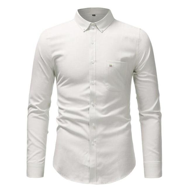 남성용 셔츠 솔리드 긴 소매 홀리데이 탑스 면 사업 베이직 화이트 푸른 블러슁 핑크