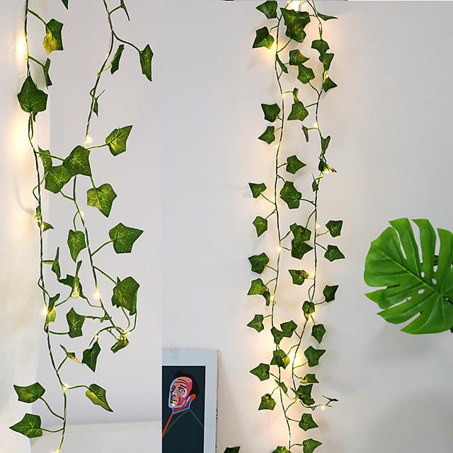 2m 20led lierre guirlande guirlande lumineuse pour arbre de noël mariage salon chambre décoration canne creeper feuille alimenté par batterie guirlande lumineuse sans batterie
