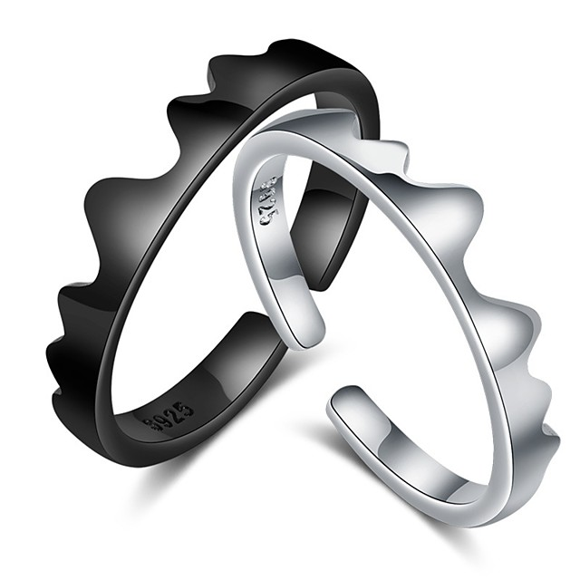 Pentru cupluri Inele Cuplu Inel 1 buc Negru Argintiu Articole de ceramică Circular De Bază Corean Modă Cadou Promisiune Bijuterii Val