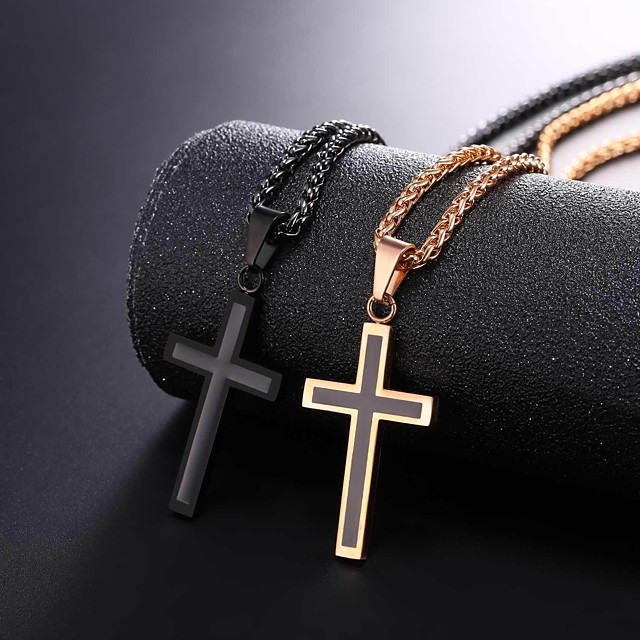 Men's Pendant Necklace Rope franco chain Cross Dangling Stainless Steel Rose Gold Black Gold Silver 55 cm Necklace Jewelry 1pc For Gift Daily