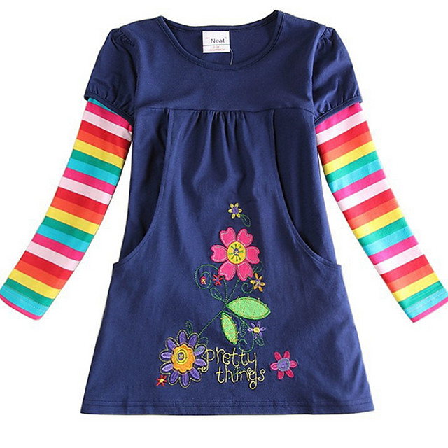 Kids Little Girls' Dress Striped Royal Blue Dresses