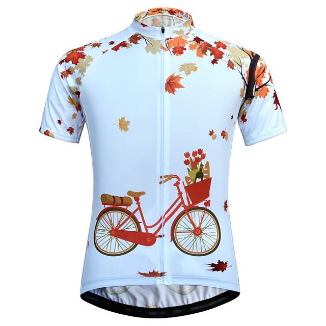 JESOCYCLING 여성용 짧은 소매 싸이클 져지 화이트 자전거 져지 산악 자전거 로드 사이클링 통기성 빠른 드라이 인체 해부학적 디자인 스포츠 의류 / 스트레치 / 백 포켓 / 멀티 패널 구조