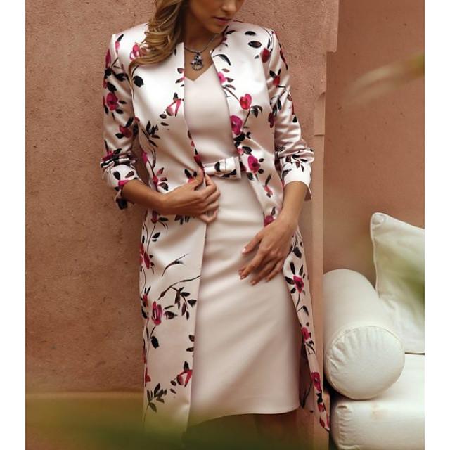 Γυναικεία 2020 Μπεζ Φόρεμα Κομψό Ανοιξη καλοκαίρι Ντε Πιες Φλοράλ Λαιμόκοψη V Δαντέλα M L Λεπτό