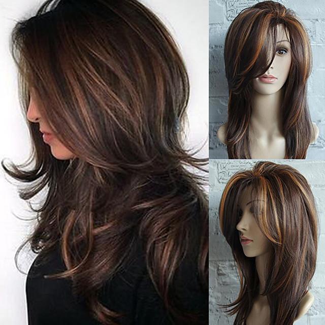 Synteettiset peruukit Suora Laineita Hathaway Sivuosa Peruukki Keskipitkä Beige Synteettiset hiukset 22inch Naisten Heat Resistant Klassinen synteettinen Ruskea / Luonnollinen hiusviiva