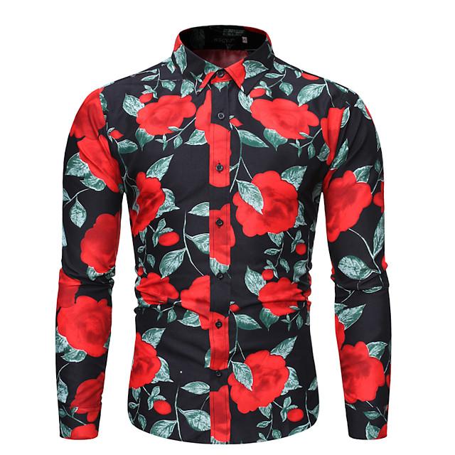 남성용 셔츠 기하학 플러스 사이즈 프린트 긴 소매 일상 탑스 베이직 화이트 블랙