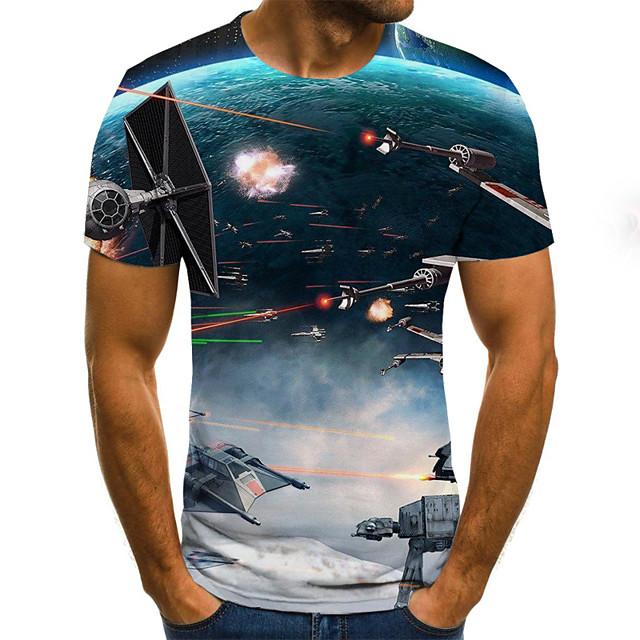 Homme T-shirt Géométrique 3D Grandes Tailles Plissé Imprimé Manches Courtes Fin de semaine Hauts Chic de Rue Bleu Roi