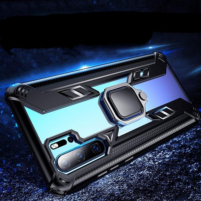 telefone Capinha Para Huawei Capa traseira Silicone Caixa de silicone Huawei P30 Pro Huawei P30 Lite Huawei Mate 20 pro Antichoque Com Suporte Suporte para Alianças Transparente Armadura TPU Silicone