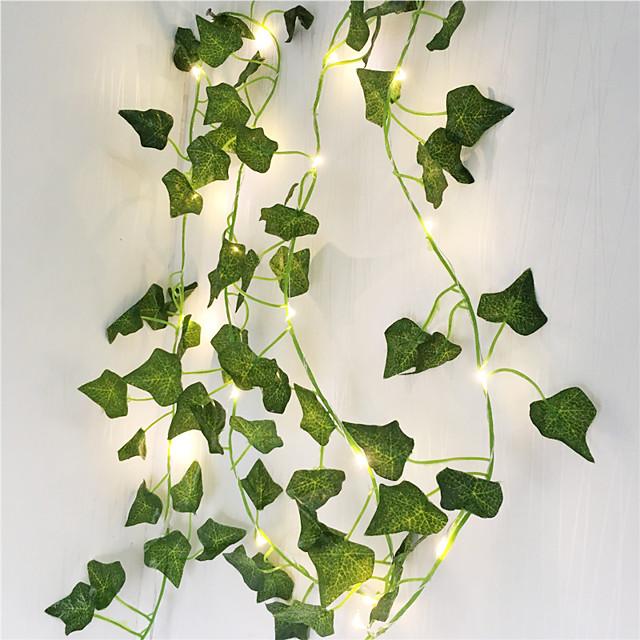 2m τεχνητά φυτά led κορδόνι φως αναρριχητικό πράσινο φύλλο κισσού αμπέλου 6τμχ 3τμχ 1pc για οικιακό γάμο λάμπα διακόσμηση κρεμαστή αυλή κήπου (χωρίς μπαταρία)