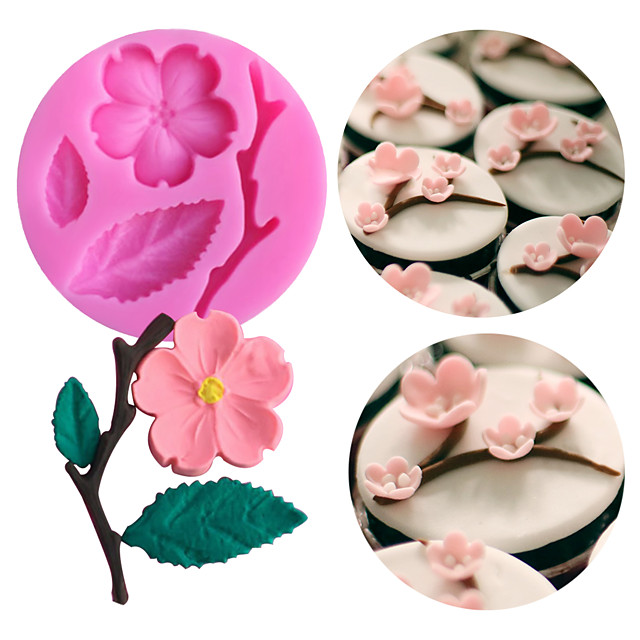 1PC Peach Blossom Shape Fondant Molds Cake Decorating Tools Chocolate Mold Soap Cake Stencils Kitchen DIY Tools