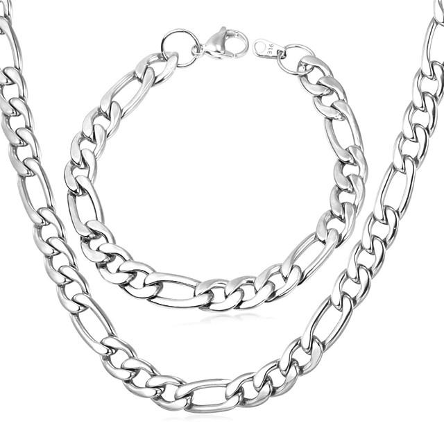Bărbați Lănțișoare Figaro lanț chunky femei De Fiecare Zi Teak Oțel titan Oțel Auriu Argintiu Negru Neclacke de aur cu brățară Colier din argint cu brățară Coliere Bijuterii Pentru Cadouri de Crăciun