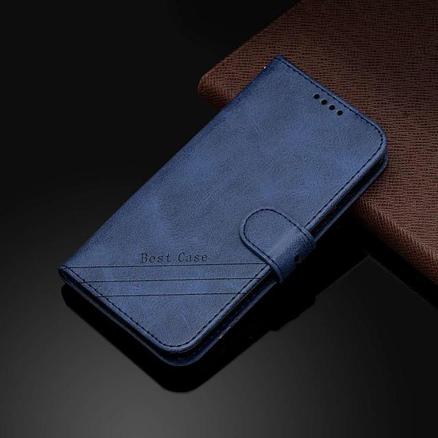 Capinha para samsung galaxy s10 / s10 plus / s10 e carteira / porta-cartão / com suporte capa proteção completa cor sólida vaca padrão pu leather para s7 / s7 edge / s8 / s8 plus / s9 / s9 plus