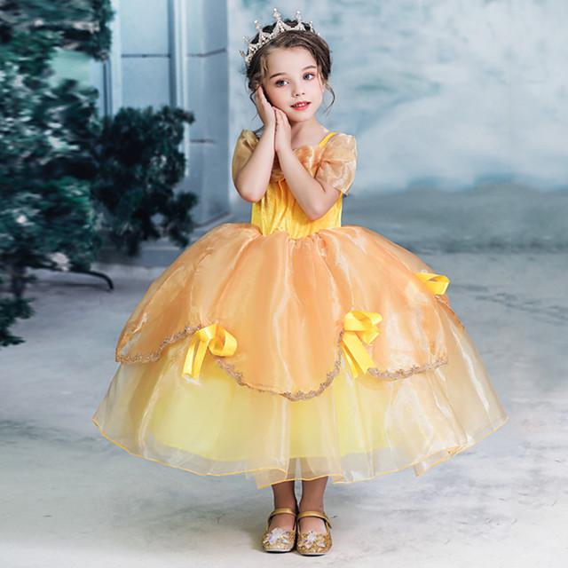 Prințesă fată frumoasă Rochii Rochie de fete cu flori Fete Cosplay de Film A-Line Slip rochie de vacanță Halloween Galben Rochie Halloween