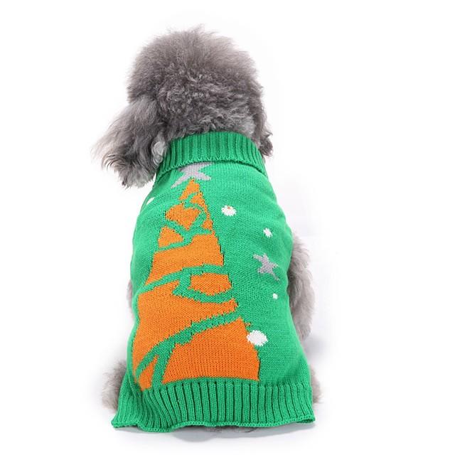 애완견 용품 스웨터 꽃 식물 크리스마스 크리스마스 겨울 강아지 의류 강아지 옷 개 의상 그린 코스츔 소녀와 소년 개 아크릴 섬유 XS S M