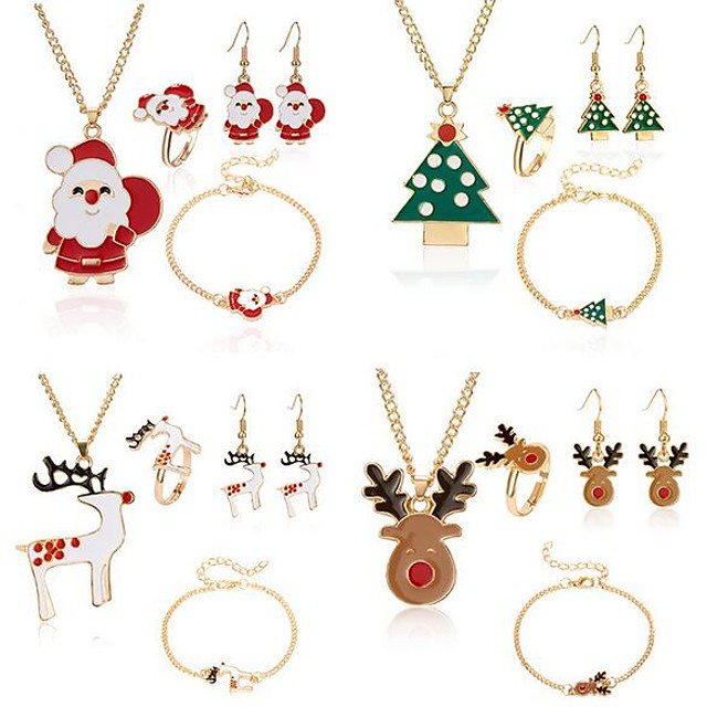 نسائي أساور السلسلة والوصلة أقراط قطرة عقد بدل سانتا Elk أيل الأقراط مجوهرات أبيض / أحمر / أخضر من أجل عيد الميلاد 4 / خاتم / الحلقات