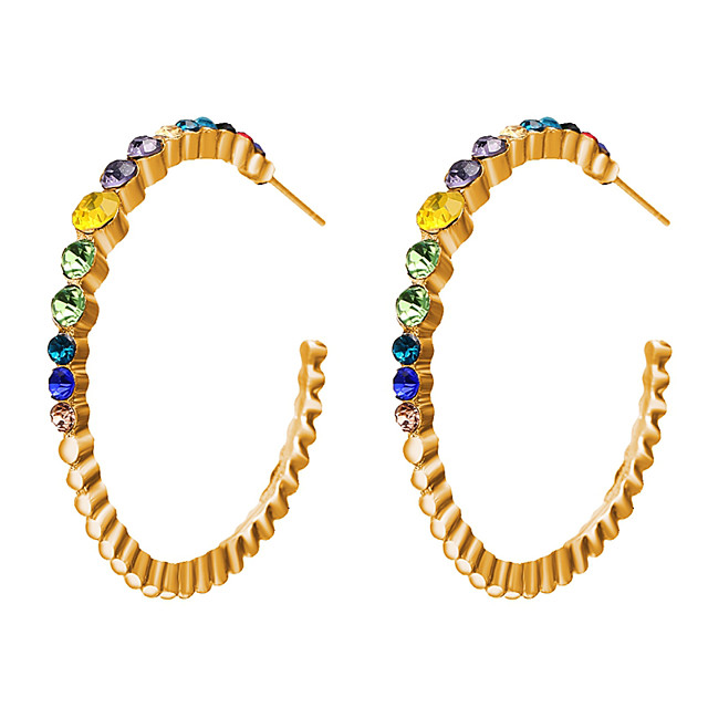Pentru femei Cercei Rotunzi Stil Vintage Scrisă Rococo Diamante Artificiale cercei Bijuterii Auriu Pentru Zilnic Stradă Festival 1 Pair