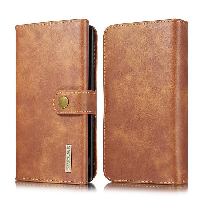 Кейс для Назначение SSamsung Galaxy Note 9 / Note 8 / Samsung Note 10 Кошелек / Бумажник для карт / со стендом Чехол Однотонный Настоящая кожа