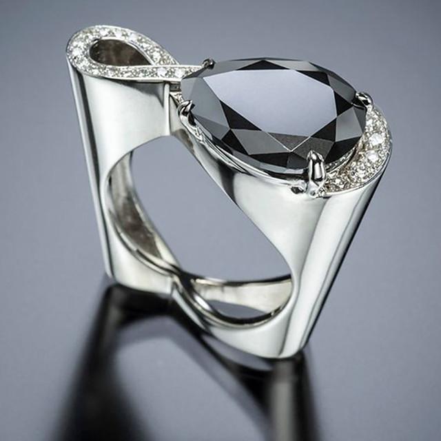 خاتم مكعب زركونيا فضي مطلي بالبلاتينيوم حلو 1PC 6 7 8 9 10 / نسائي / مناسب للبس اليومي