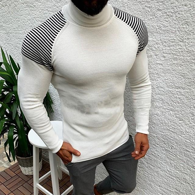 남성용 줄무늬 풀오버 긴 소매 스웨터 가디건 터틀넥 화이트 블랙