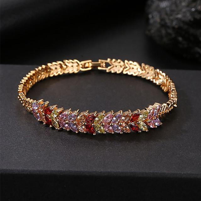 Mulheres Roxo Rosa Vermelho Brincos / pulseira Clássico Por sorte Luxo Na moda Fashion Elegante Colorido Cobre Pulseira de jóias Dourado Para Presente Diário Feriado Festival
