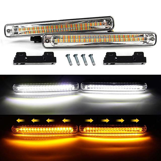 2 pezzi auto drl led che scorre striscia luminosa impermeabile drl luce di marcia diurna indicatore di direzione fendinebbia bianco girare ambra faro 12v