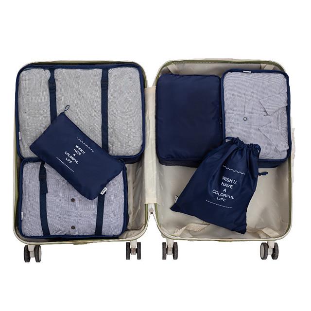 6 סטים תיק טיולים\נסיעות ארגונית נסיעות ארגונית נסיעות למזוודה קיבולת גבוהה עמיד למים נייד מתקפל בד חלק עבור נסיעות בגדים / זיווד דו צדדי / תיק אביזרים / תיק לנעליים / תיק שירותים / שקית ארגונית קטנה