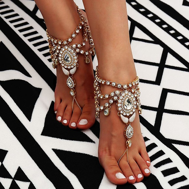 Sandales Pieds Nus bijoux de pieds dames Bohème Mode Femme Bijoux de Corps Pour Quotidien Décontracté Franges Cristal haut de gamme Strass Alliage Fleur Dorée Argent