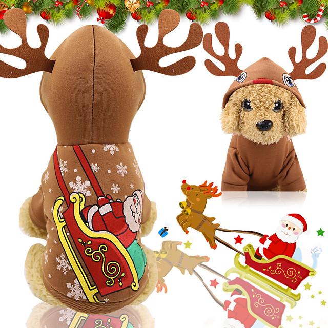 Hunde Katzen Kapuzenshirts Weste Weihnachten Weihnachten Hundekleidung Welpenkleidung Hunde-Outfits Braun Kostüm für Mädchen und Jungen Hund Polyester Segeltuch Fasergemisch XS S M L XL XXL