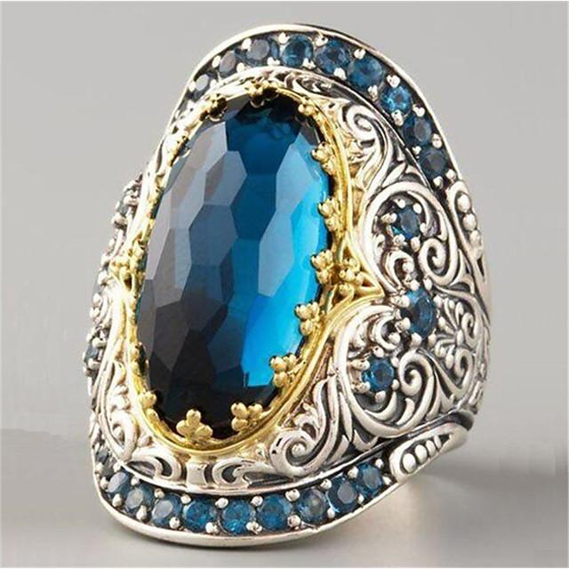 للنساء خاتم ياقوت إصطناعي هندسي أزرق داكن مطلية بالذهب نجمة موضة 1PC 6 7 8 9 10 / نسائي