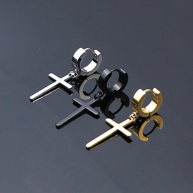 Erkek Kadın's Halka Küpeler Huggie Küpeleri Asılı Çapraz Küpe Krzyż Çember Çapraz Bayan Kişiselleştirilmiş Punk minimalist tarzı Rock Yıldızı Paslanmaz Çelik Titanyum Çelik Küpeler Mücevher Siyah