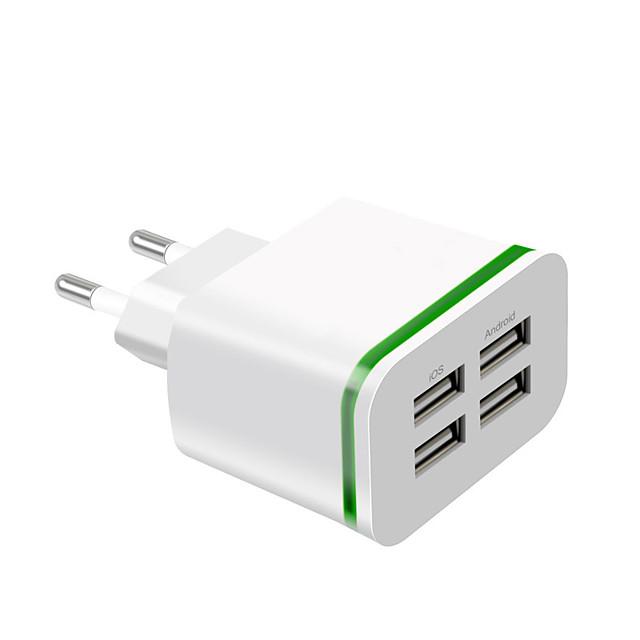 Быстрое зарядное устройство Зарядное устройство USB Евро стандарт Несколько разъемов 4 USB порта 4 A 100~240 V для Универсальный