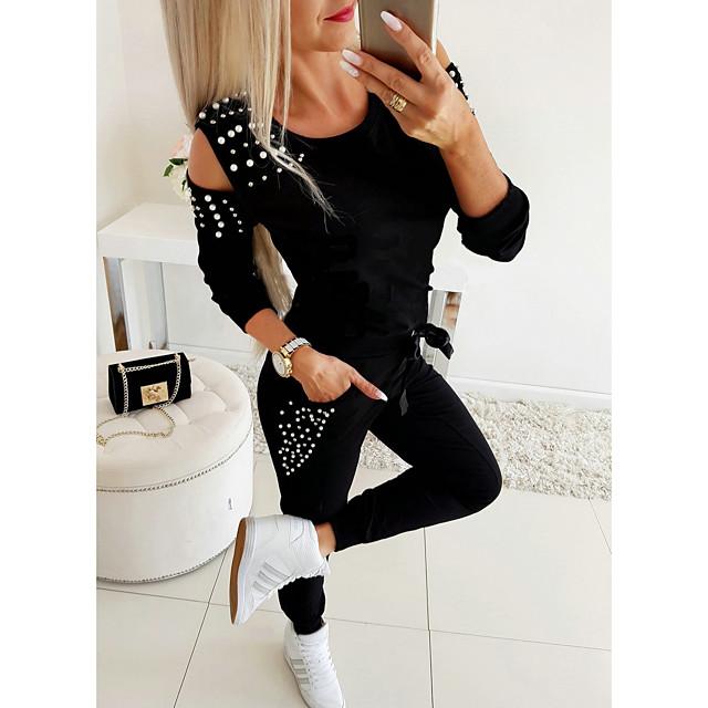 Mujer Básico Un Color Conjunto de dos piezas Chándal Conjunto Pantalón Loungewear Pantalones jogger Remache Tops