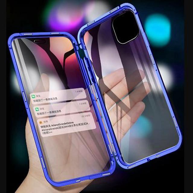 магнитный чехол для apple iphone 12 11 xr прозрачный чехол для мобильного телефона 360 защита двухстороннее стекло металлический магнит адсорбционный защитный чехол для iphone 11pro max se2020 xsmax x